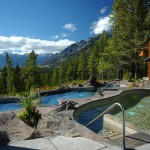 Outdoor hot pools at Hidden Ridge overlooking Banff, Alberta.